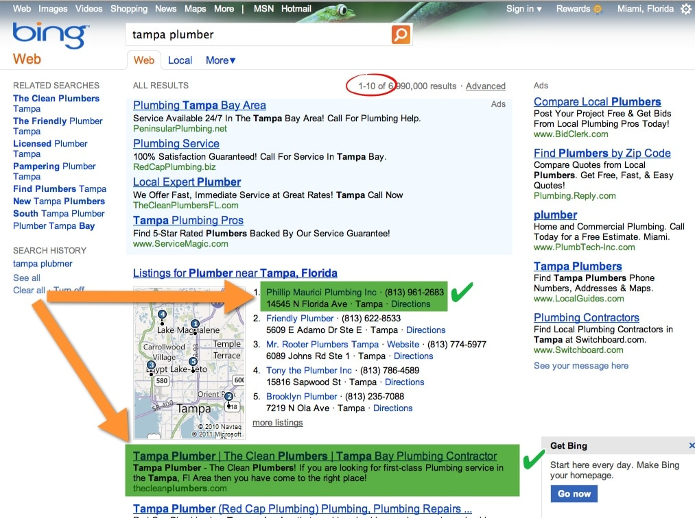 Tampa Plumber - Page One Spot 1 on Map and Organic